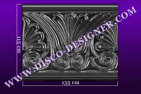 "BAR DECOR ""FLOWER""- flat panel - Relief ornamental panel, mirrored finish (H 115cm x W 135cm)"