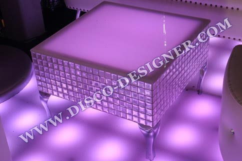 DISCO TABLE CRYSTAL - mirrored relief