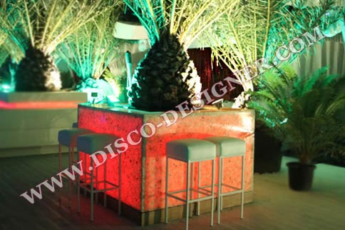 LED PALM POT BAR + Artificial palm tree