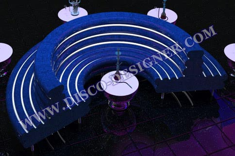 Double Round Modern LED Disco Sofa