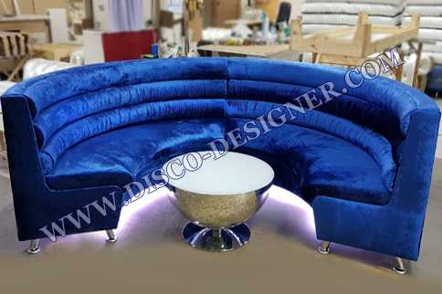 Round Modern LED Disco Sofa - Velvet Blue