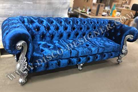 LUXURY BAROQUE DISCO SOFA - Velvet Blue - Double Armrest