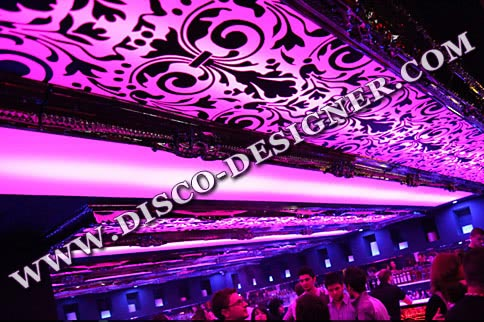 RGB DMX LED Ornamental Ceiling Panel, mirrored framing and custom made ornaments