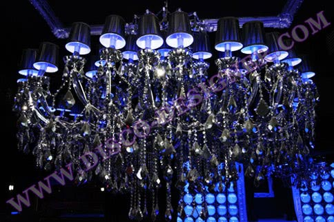 BIG LED Disco Chandelier (Mirrored Crystal), Body size - D: 200cm, H: 140cm