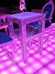 DISCO TABLE CRYSTAL - High - With Bag Shelving - Mirror