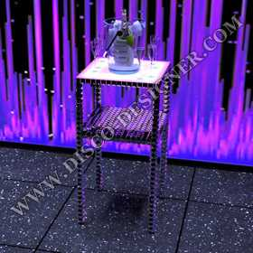 DISCO TABLE CRYSTAL - SLIM- With Bag Shelving - Mirror