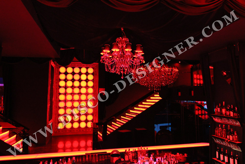 LED Chandeliers in a baroque style club
