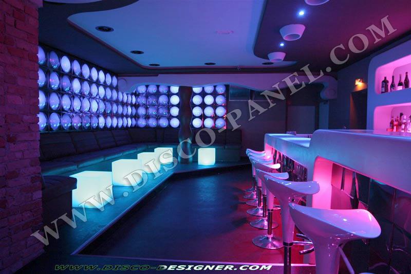MODERN NIGHTCLUB WALL LED LIGHTING AND DECOR - BAR LOUNGE DECORATION ...